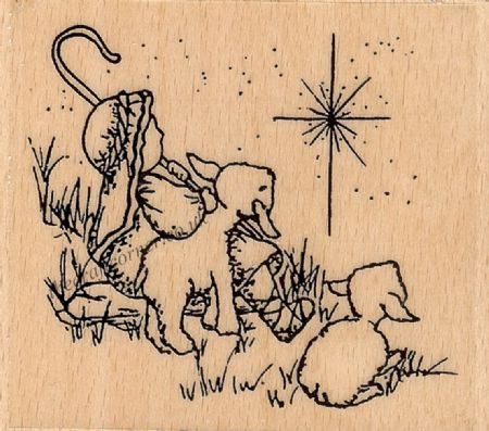 Christmas Shepherds Wood Mounted Rubber Stamp